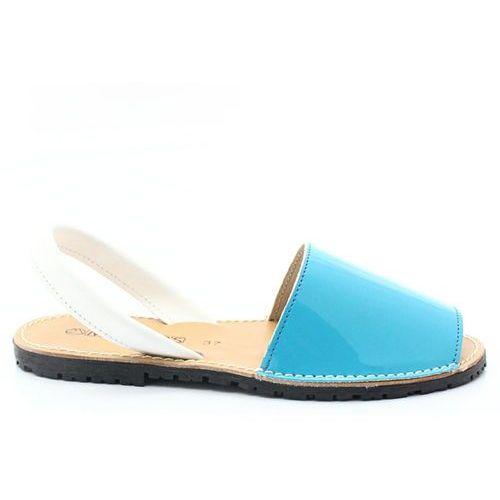 Mariettas 550 turkusowy - hiszpańskie skórzane sandały minorki - niebieski