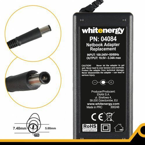 Whitenergy Zasilacz 19.5v/3.34a Wtyk 7.4x5.0mm