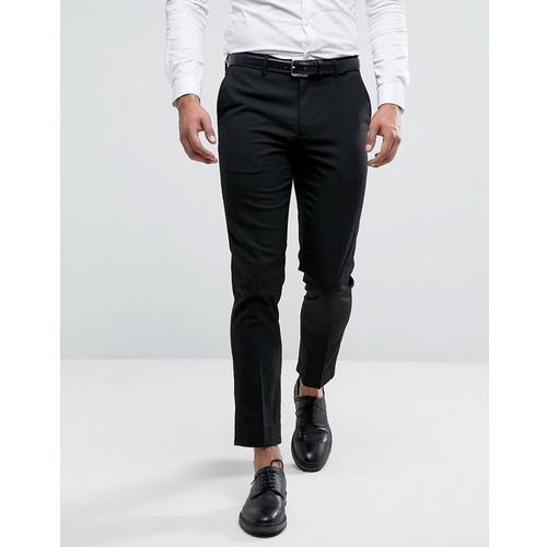 River Island Skinny Fit Cropped Smart Trousers In Black - Black