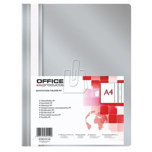 Office products Skoroszyt , pp, a4, miękki, 100/170mikr., szary (5901503657034)