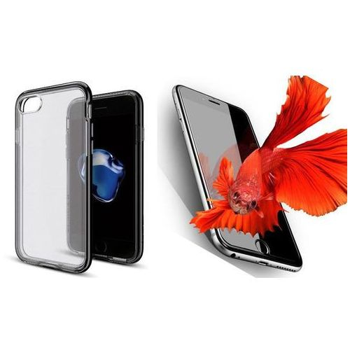 Sgp - spigen / perfect glass Zestaw   spigen sgp neo hybrid crystal jet black   obudowa + szkło ochronne perfect glass dla modelu apple iphone 7