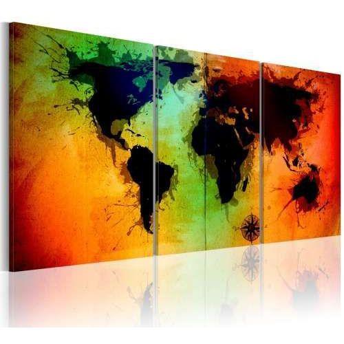 Obraz - Mapa świata - kolorowe oceany - produkt z kategorii- Obrazy
