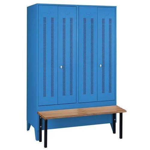 Szafka na ubrania z ławeczką z przodu, drzwi perforowane, szer. przedziału 600 m