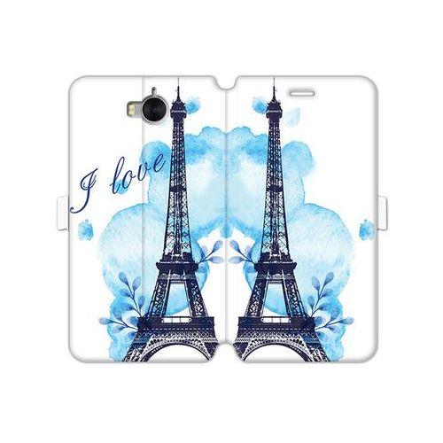 Etuo wallet book fantastic Huawei y5 (2017) - etui na telefon wallet book fantastic - niebieska wieża eiffla