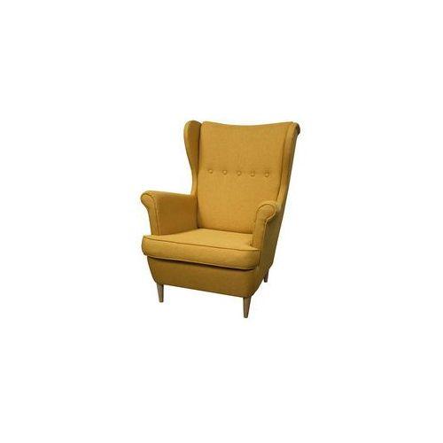 ••• Fotel Uszak Kamea żółty – WYBÓR KOLORU NÓŻEK – PROMOCJA – DARMOWA DOSTAWA •••, kolor żółty