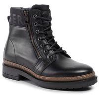 Trapery - textured leather mix boot fm0fm02418 black 990 marki Tommy hilfiger
