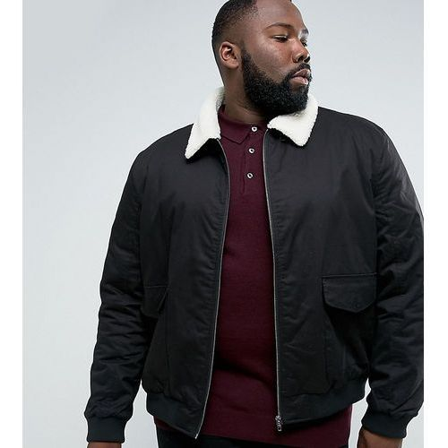 plus checked lined harrington jacket with borg collar - black marki French connection