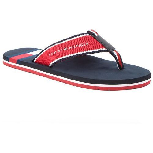 Japonki TOMMY HILFIGER - Corporate Flag Beach Sandal FM0FM01605 Tango Red 611, kolor czerwony