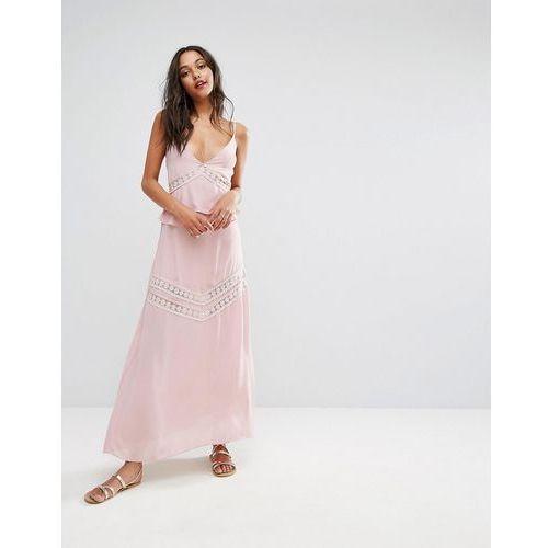 lace insert maxi dress - pink, Boohoo