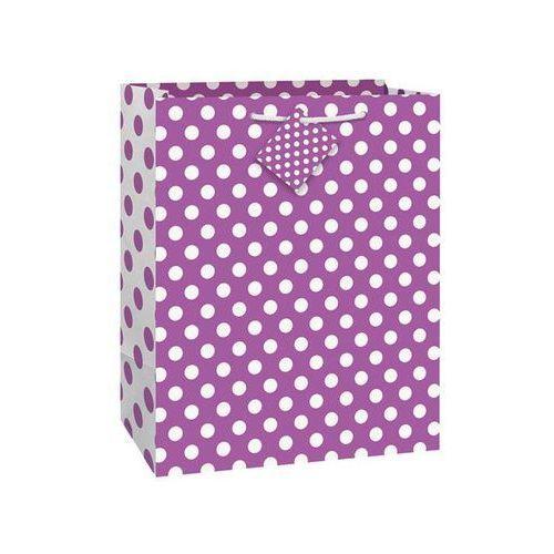 Torebka prezentowa fioletowa w białe kropeczki 27x32 cm - 1 szt. marki Unique