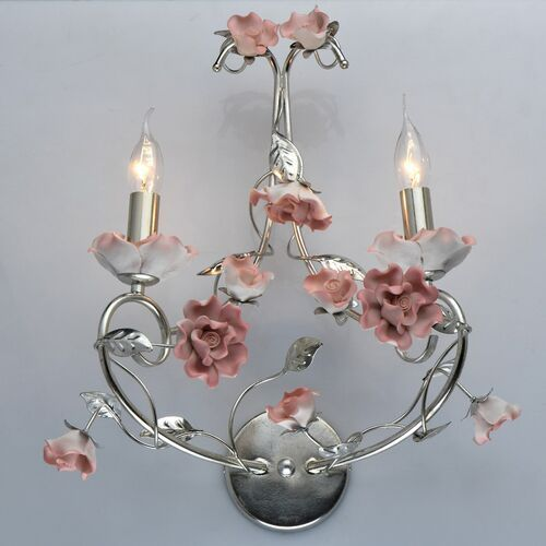 Kinkiet srebrny z różowymi kwiatami z ceramiki Sicily CHIARO Flora (282022302)