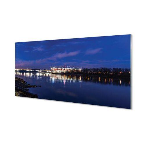 Obrazy na szkle Warszawa Rzeka most noc stadion