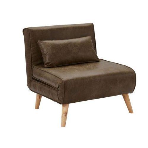 Rozkładany fotel POSIO z mikrofibry o wyglądzie postarzanej skóry – Kolor czekoladowy, kolor brązowy