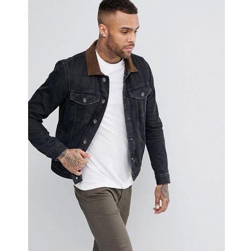 River Island Denim Jacket With Suede Collar In Washed Black - Black