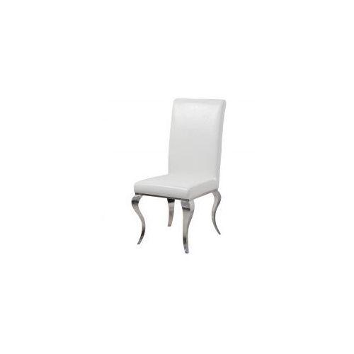 Bellacasa Krzesło glamour premier white eco - nowoczesne krzesło tapicerowane ekoskóra (5908273397542)
