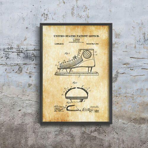 Plakat retro do salonu plakat retro do salonu hokej na lodzie johnson shoe patent usa marki Vintageposteria.pl