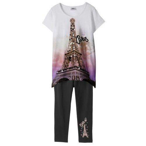 Bonprix Shirt + legginsy 3/4 (2 części) biało-czarny