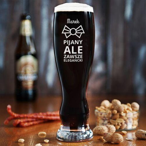 Pijany, ale elegancki - grawerowana szklanka do piwa - szklanka do piwa marki Mygiftdna