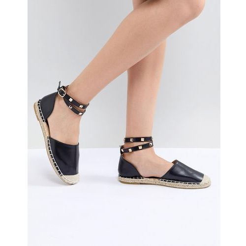 studded ankle strap espadrille - black, Truffle collection