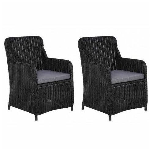 Fotele polirattanowe ogrodowe Grafton 2 szt - czarne, vidaxl_44146