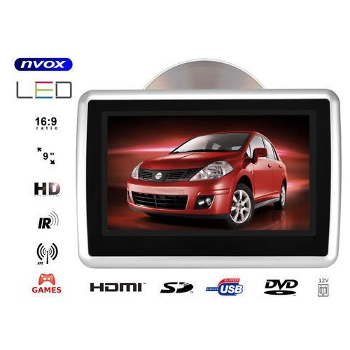 """Monitor samochodowy zagłówkowy LED 9"""" HD z HDMI DVD USB SD IR FM GRY 12V (5909182425623)"""