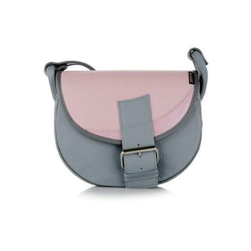 8f477f70a76cb Freshman mini torebka skórzana szaro-różowa marki Słoń torbalski