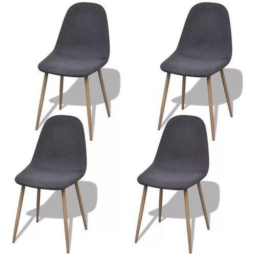 Krzesła do jadalni, 4 szt., żelazne nogi, tkanina, ciemnoszare