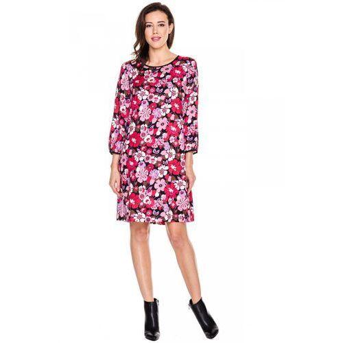 Sukienka w kwiaty z długim rękawem - Bialcon, kolor różowy
