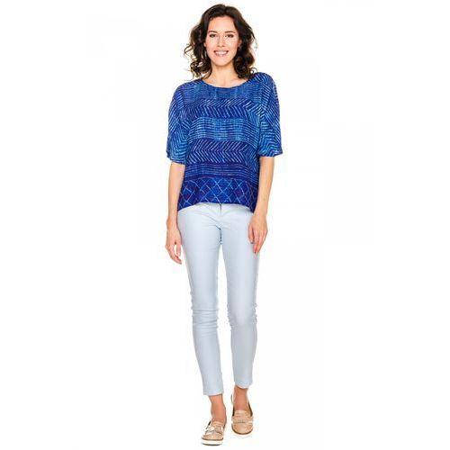 Lekka bluzka w niebieskie wzory - , bluzka damska Bialcon
