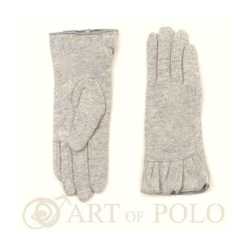 Wełniane jasnopopielate rękawiczki damskie z falbanką - popielaty