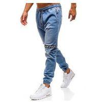Spodnie jeansowe joggery męskie jasnoniebieskie denley 2031, Otantik