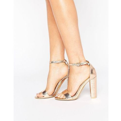 Glamorous rose gold barely there block heeled sandals - gold