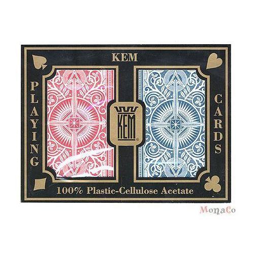 Kem - uspc - u.s. playing card Karty kem brydżowe jumbo - czerwono-niebieskie - 100% plastik uspc karty kem brydżowe jumbo - czerwono-niebieskie - 100% plastik uspc