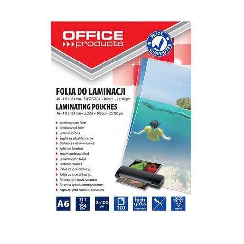 Folia do laminowania OFFICE PRODUCTS, A6, 2x100mikr., błyszcząca, 100szt., transparentna (5901503687314)