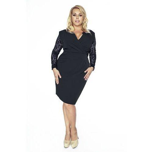Czarna Koronkowa Sukienka Kopertowy Dekolt Plus Size, kopertowa