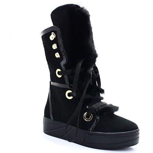Ulmani 24404 czarne - wysokie śniegowce, ciepłe - czarny marki Ulmani shoes