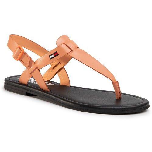 Sandały TOMMY JEANS - Color Block Basic Thong Sandal EN0EN00908 Melon Orange SC1, w 7 rozmiarach