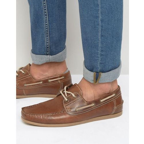 Red tape boat shoes in leather - tan