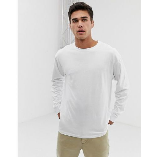 New look oversized long sleeve cuff t-shirt in white - white