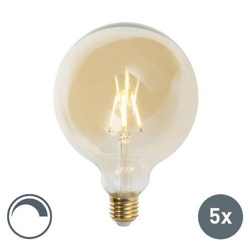 Zestaw 5 x żarówka LED E27 G125 goldline 2200K ściemnialna