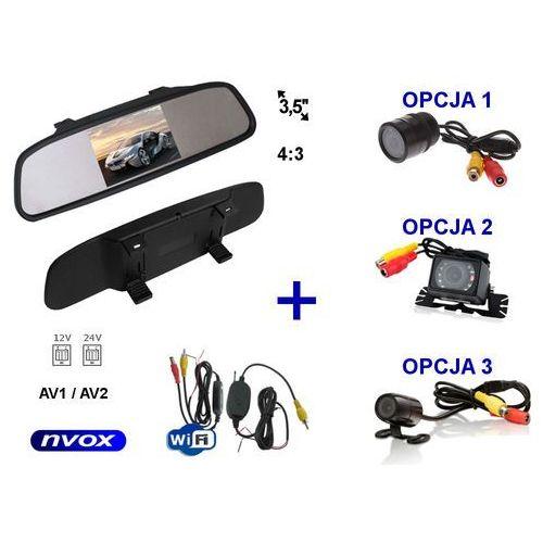 """Zestaw monitor lcd 3,5"""" w lusterku wstecznym 12v 24v samochodowa kamera cofania i bezprzewodowy moduł wifi marki Nvox"""