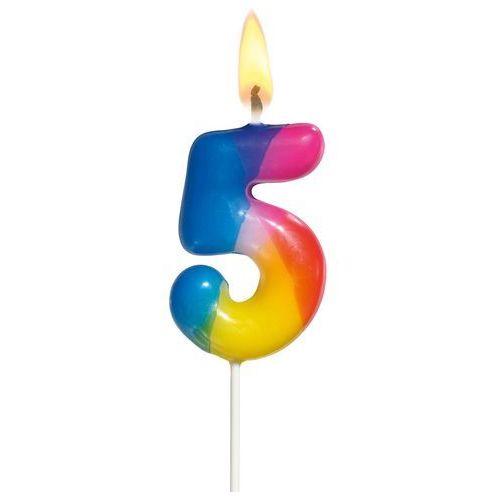 Świeczka na tort urodziny cyfra 5 4,5cm SUSY-CARD - cyfra 5