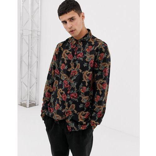 New Look regular fit viscose baroque print shirt in navy - Navy