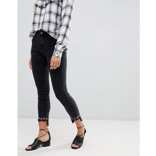 crochet hem skinny jeans - black, Glamorous, 34-40