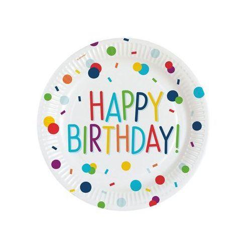 Amscan Talerzyki urodzinowe happy birthday konfetti - 23 cm - 8 szt. (0194099000918)