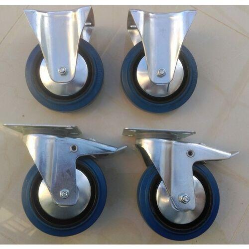 Zestaw kół fi 125 mm 4 szt. płytka, 500 KG STAŁE, SKRĘTNE, niebieski kauczuk MOCNE