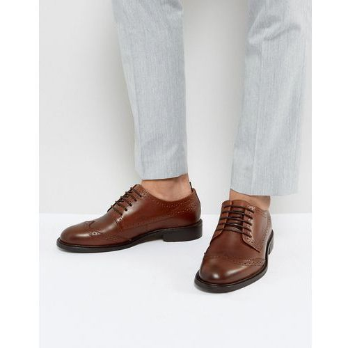 Selected homme  baxter leather brogue shoes in cognac - brown