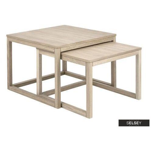 Selsey zestaw dwóch stolików kawowych caitrion 70x70 cm i 64x61,5 cm bielonych (5903025297347)