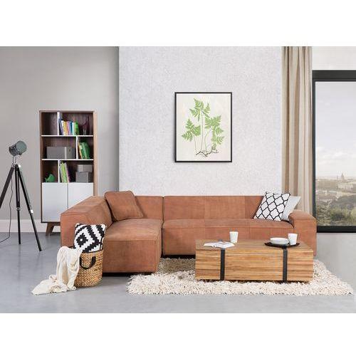 Sofa koniakowa - narożnik skórzana - adam p, marki Beliani