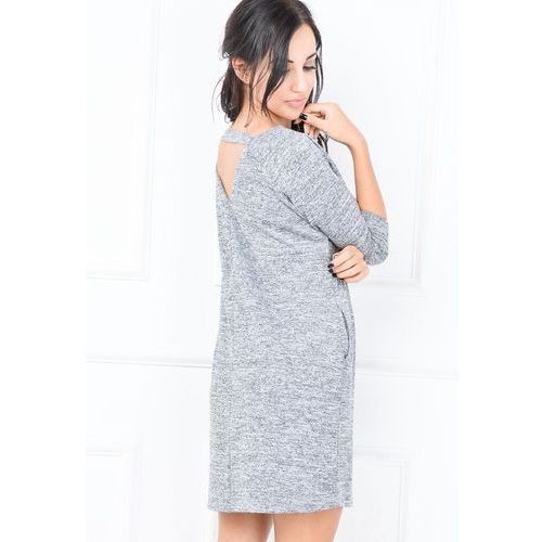 Melanżowa sukienka oversize z dekoltem V i kieszeniami